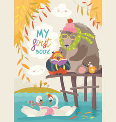 cute bear owl and swans reading books in autumn vector image