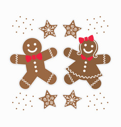 Cute brown gingerbread girl and boy couple cookies vector