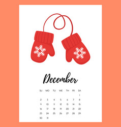 december 2018 year calendar page vector image vector image