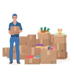 Delivery move service man holding craft box cargo vector