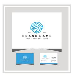 Dog tech logo design with a business card vector