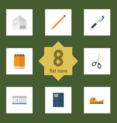 Flat icon stationery set of pencil copybook vector