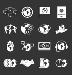 global connections icons set grey vector image