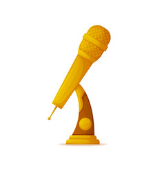 Gold trophy in shape of microphone music award vector