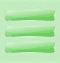 Green glass button on green background vector