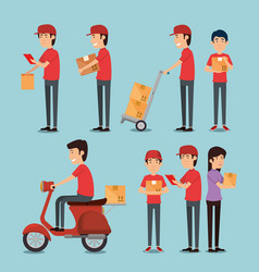 Group of delivery workers vector