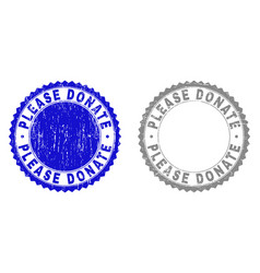 grunge please donate scratched stamp seals vector image