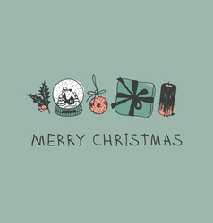Hand drawn christmas toys and things on green vector