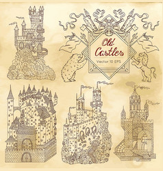 hand drawn collection with gothic castles vector image