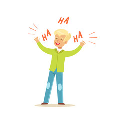 Happy blonde boy laughing out loud colorful vector