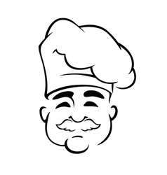 Happy european chef in toque hat vector image