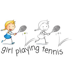 happy girl playing tennis vector image