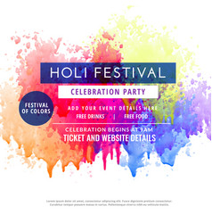 happy holi party invitation template flyer vector image