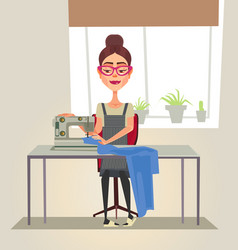 Happy smiling designer seamstress woman character vector