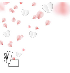 happy valentines day with rose petals and gift box vector image