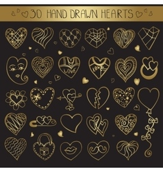 Hearts hand drawing doodle setGold decoration vector