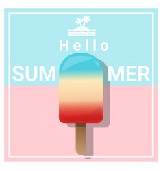 Hello summer background with colorful ice cream vector
