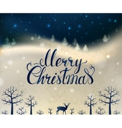 Holiday greeting card with winter forest deer and vector
