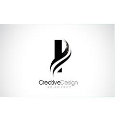 I letter design brush paint stroke vector