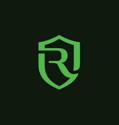 Initial letter r shield safe secure logo design vector