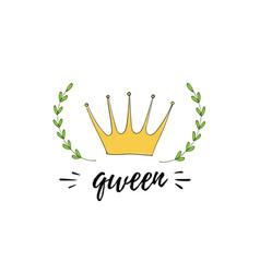 inspiration doodle sticker crown laurels and vector image