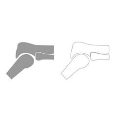 Knee joint grey set icon vector