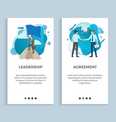 Leadership and agreement people posters set vector