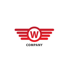 Letter w initial abjad logo design template vector