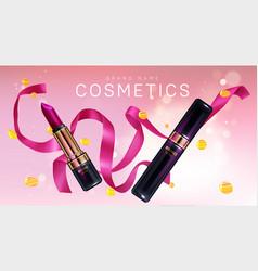 Lipstick cosmetics make up with confetti banner vector