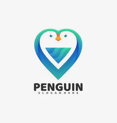 logo penguin gradient colorful style vector image