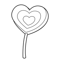 Lollipop heart icon outline style vector image
