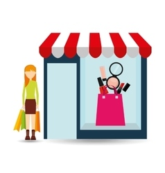makeup woman buys gifts vector image