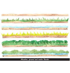 Meadow ground bush and water border watercolor vector
