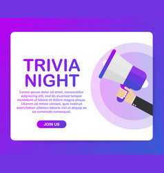 Megaphone hand business concept with text trivia vector
