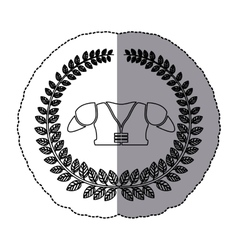 middle shadow monochrome sticker with olive crown vector image