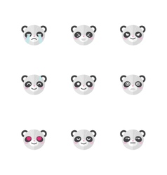 minimalistic flat panda emotions icon set vector image