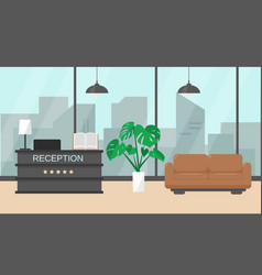 Modern hotel reception interior vector