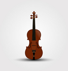 musical brown violin with shadow vector image