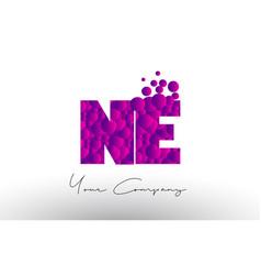 Ne n e dots letter logo with purple bubbles vector