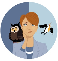Night owl or morning lark vector image