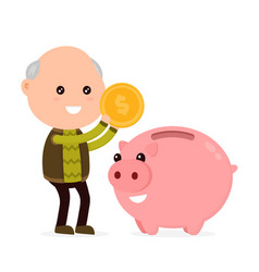 Old happy cute grandfather man tosses a coin vector