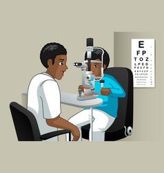 Optometrist checking on a kid eyes vector