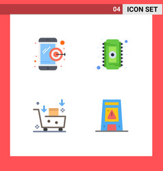 Pack 4 creative flat icons dartboard email vector
