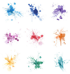 paint splat colors set collection vector image