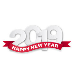 paper numbers happy new year 2019 vector image