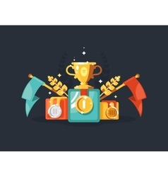 Pedestal with gold cup and medals vector image