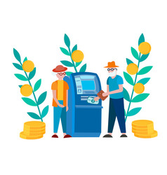 pensioners withdraw savings using an atm vector image