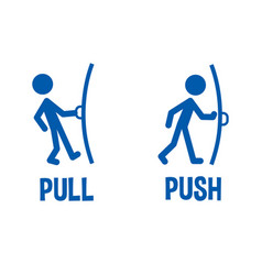 pull or push door signs vector image