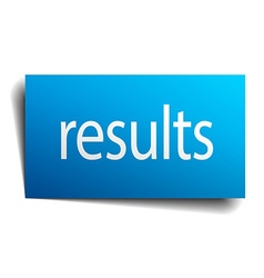 Results blue paper sign on white background vector