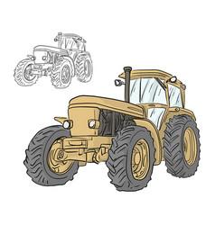 Retro yellow tractor sketch doodle vector